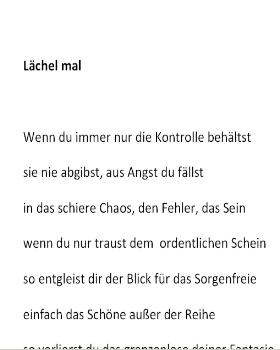 Mathias B�scher - Gedicht L�chel mal